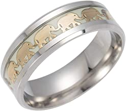 Jewelry Vintage Golden Elephant Band Rings for Men Women Luminous Stainless Steel Glow in The Dark Size 6-13