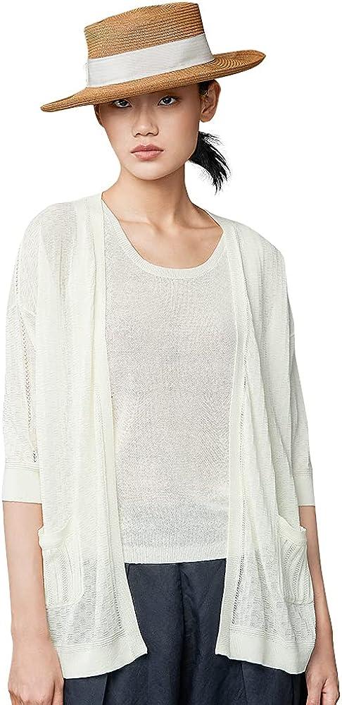 Donoratico Women's V-Neck Cardigan Cotton and Nylon Blended Knit Coat