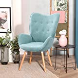 FURNISH1 - Sedia moderna in tessuto di lino con bottoni, per camera da letto, soggiorno, sala d'aspetto dell'ufficio, colore: verde chiaro