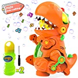 WisToyz Dino Bubble Machine Bubble Blower, Mobile & Stationary Two Settings, Bump N Go Feature, Music & Light, Bubble Machine for Kids, Two Bottles of Bubble Solution & Screwdriver Included