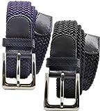 Mirabella 2 Pacchi Cintura Elastica, Cintura Elastica Intrecciata per Uomo e Donna, Sacchetto Regalo, Taglie: 105cm - 110cm - 115cm - 120cm - Scelta colori e quantità. (1 NERA+1 BLU, 115 cm / 48-50)