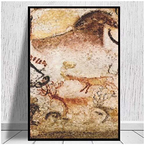 Lascaux Hall of the Bulls Aurochs impresiones en lienzo pintura sobre lienzo carteles impresiones decoración del hogar dormitorio-20x28in sin marco
