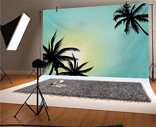 Fondo moderno de vinilo para fotos de 15 x 10 pies, palmeras hawaianas de Miami Beach Island con sol como cielo claro, imagen de fondo para niños, baby shower, estudio de fotos