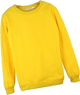 IPOTCH Unisex Pullover Hooded Fleece Sweatshirt Yellow