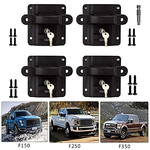 Byredio Bed Tie Down Anchors for Ford F150 F250 F350 2015-2021 Truck Cargo Bed Tie Downs Boxlink Cleats with Plates, Replacement for FL3Z99000A64B FL3Z-9928408-AB