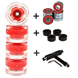 [page_title]-FunTomia 4 Stück (LED) Longboard/Skateboard/Mini-Board Rollen (Big Wheels) in 65x45mm 80A inkl. Mach1® Kugellager und Metall Spacer 80A Rollenhärte