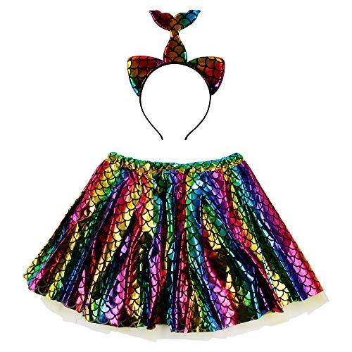 Disfraz de Sirena Falda Tutu Mujer de Baile con Diadema con Brillo, Pack de 2 Unidades para Fiesta, Cintura 60-110cm (Pack Sirena/Multicolor)