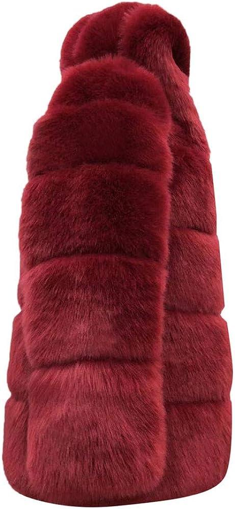 HGWXX7 Womens Cardigans Faux Fur Hood Lined Jacket Solid Color Plus Size Crop Top Warm Winter Coats