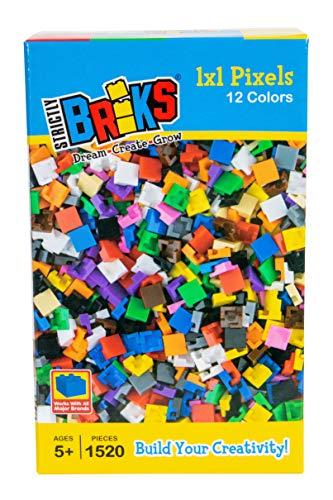 Strictly Briks Classic Briks - Pixel-Bausteine-Set für kreative Kunstwerke - 100 % kompatibel mit Allen führenden Bausteinmarken - 1 x 1 Noppen - 12 Farben - 1520-teiliges Set