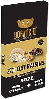 BOGATCHI Healthy Oats 70% Dark Chocolate Bar with Raisins , Low Carbs, Keto Chocolate, 80g