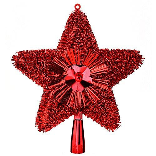 Feerie Christmas Cimier de Sapin Brillant - 23 cm. - Rouge