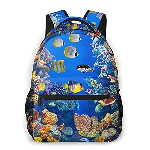 Kanxdecor Lässiger Rucksack,Buntes Aquarium, das verschiedene Fische zeig,Travel Bookbag With Zipper,For Business, School, Work, Laptop Bookbag 16