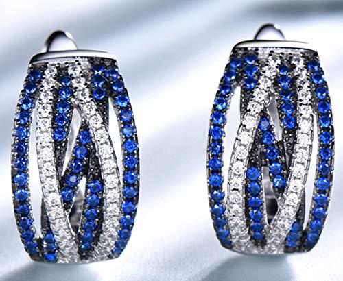 XIRENZHANG Pendientes de clip de alta gama, sencillos pendientes de plata de ley S925, pendientes de clip retro, pendientes para mujer, color azul