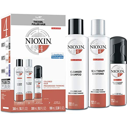 Nioxin System 4 Hair Care Kit for Colored Treated Hair with Progressed Thinning, 3 Count