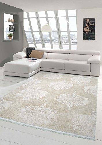 Traum Designer Teppich Moderner Teppich Wollteppich Meliert Wohnzimmer Teppich Wollteppich Ornament Creme Beige Größe 80 x 300 cm