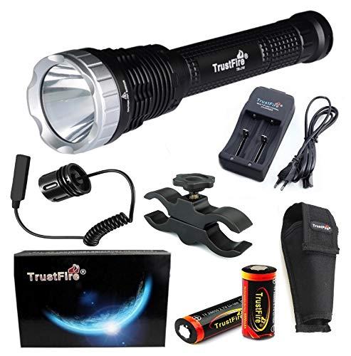 linterna de gran alcance vigilancia Aguardos B - Linterna kit alumbrado 8500lm // 1 Modo // 3 bater/ías caza Linterna Trustfire J18 7 Led CREE XML-T6-4200 mAh ultrafire