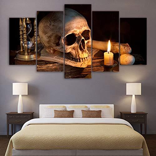 MMLFY 5 Canvas foto's HD Prints Schilderijen Wooncultuur 5 stuks Scary Schedel Brandende kaars Posters Modulaire Woonkamer Muurkunst Afbeeldingen