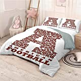 HELLOLEON Letter A 3-Pack (1 Duvet Cover and 2 Pillowcases) Bedding First Letter of The Alphabet Shape with American Footballs Athletism Sports Polyester (Full) Brown and White