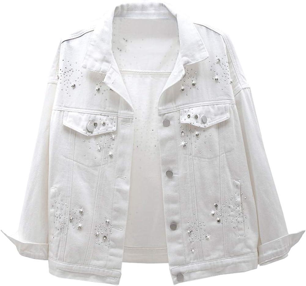 LifeShe Women's Embroidered Beading Pearl Denim Jean Jacket Coat