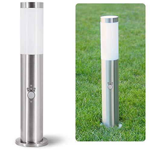 linovum BOSEA-B Standleuchte außen mit Bewegungsmelder, Dämmerungssensor & E27 Sockel - Edelstahl Pfostenleuchte 50cm IP44