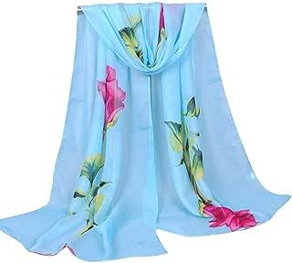 NJTSXLM Women's Scarves, Scarf Fashion Women Rose Long Chiffon Soft Wrap Scarf Ladies Shawl Chiffon Scarf Scarves Pareos (Color : Blue)