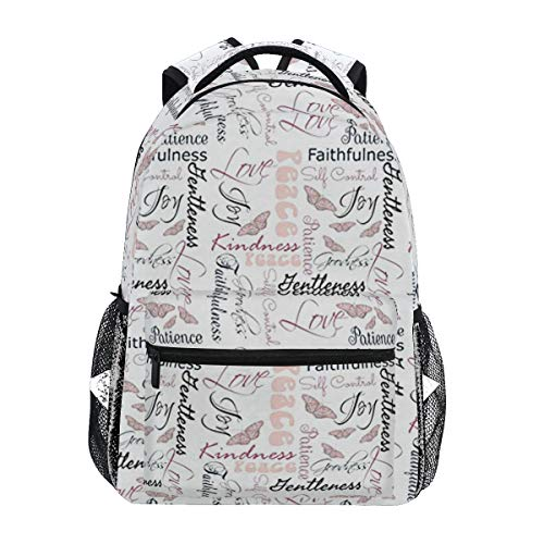 Christian Fruit Of The Spirit Butterflies Backpacks College School Book Bag Travel Hiking Camping Daypack