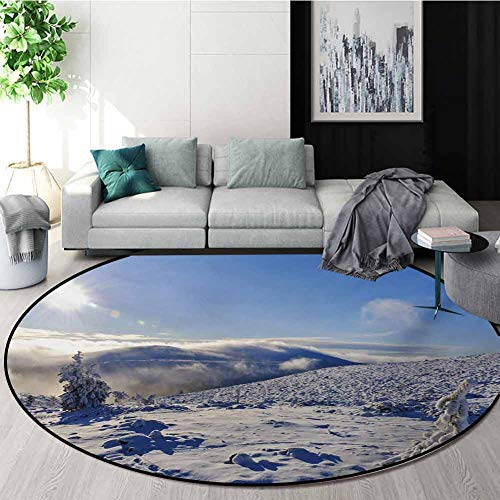 For Sale! Winter Carpet Gray Round Area Rug,Snowy Landscape from The Top of A Hill Clear Sky Winter ...
