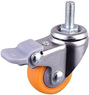 1 inch Heavy Duty 120kg Oranje Swivel Castor Wheels Trolley Ultra Rustige Nylon Castor Wheels Meubelcaster met schroefrem