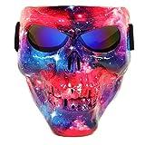 Vhccirt Motorrad Schutzmaske mit Polarisierte Brillen Skibrille Maske Halloween Totenkopf Maske,...
