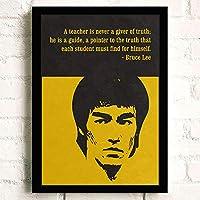 写真 ポスター アート Bruce Lee (134) ポスター A3 映画 ター キャンバスアート 玄関 木製 部屋飾り 30cm x 20cm フレーム ブラック