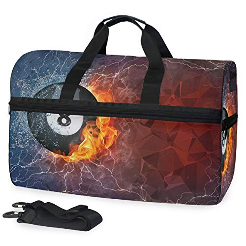 MALPLENA Billiard Ball Travel Duffel Bag, Weekender Bag with Shoes Compartment for Men Women