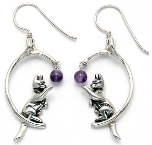 Sterling Silver Cat Playing w/Purple Crystal Bead Wire Earrings