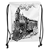 Fevthmii Drawstring Backpacks Bags,Steam Engine,Rustic Old Train in Country Locomotive Wooden Wagons Rail Road with Smoke,Black and White Soft Satin,5 Liter Capacity,Adjustable String Closu