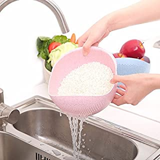 Kitchen Tools & Gadgets - Vegetable Basin Wash Rice Sieve Thickening Wheat Straw Clean Rice Machine Fruit Bowl Basket Kitchen - Quinoa Strainer Fruit Colander Rice Washing Bowl - Japanese - 1PCs