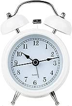 バックライト目覚まし時計でかわいいナイトライトダブルベルミュート電子シンプルな多機能ファッションベッドヘッドホームクリエイティブパーソナリティ3色オプション CHENGYI (Color : White, Size : 8.2CM*12.2CM)