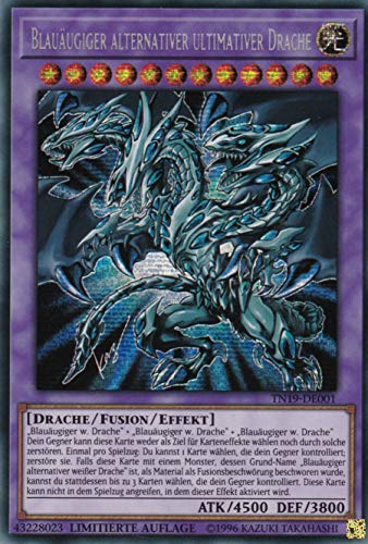 TN19-DE001 - Blauäugiger alternativer ultimativer Drache - Prismatic Secret Rare - Yu-Gi-Oh - Deutsch - 1. Auflage im Set mit Ultra Pro Toploader und Ultra Pro Schutzhülle (Klarsicht)