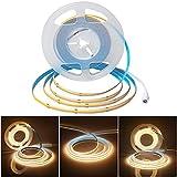 Tira LED flexible de 24 V 5 m COB blanco cálido 3000 K de alta densidad, 320 LED/M, 1600 ledes de 40 W, regulable, flexible, para dormitorio, cocina, hogar, decoración