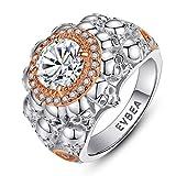 EVBEA Anillos Mujer Plata de Ley 925 Calavera Grande Cristal Diamante...