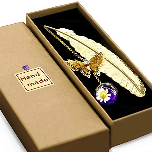 Vintage-Style Metal Feather Bookmark Gift Box, with 3D Butterfly and Dried Flower Bead Charms, A Suitable Gift for Women, Girls, Book Lovers, etc. Handmade with Care.