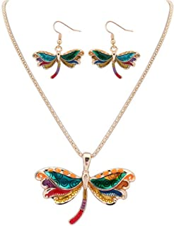 ZJ Design Colorful Animal Earring and Necklace Jewelry Sets Enamel Wing Starfish Crab Dragonfly Pendant Jewelry Set