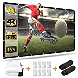 120 inch Projector Screen, Taotique 4K HD 16:9 Portable Video Projector Screen Foldable Anti-Crease Indoor...