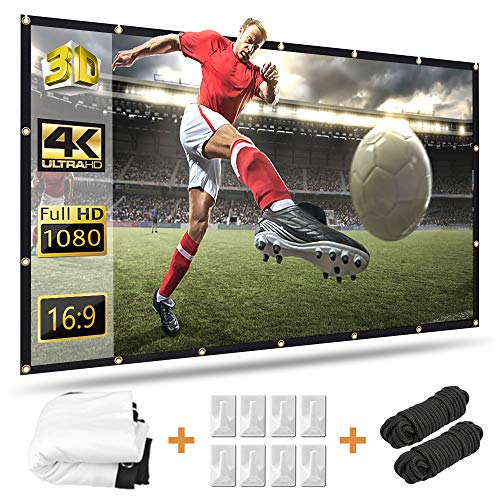 120 inch Projector Screen, Taotique 4K HD 16:9 Portable Video Projector Screen Foldable Anti-Crease Indoor Outdoor Projection Double Sided Movie Projection Screen for Home, Office, Classroom
