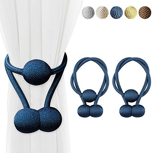 Cooltto 2 Piezas Alzapaños Magnéticos para Cortinas,Abrazaderas de Cortina con 3 Pelota, Correas de Cortina Magnéticas para de Ventana del Hotel Home Office-65cm-Azul Marino