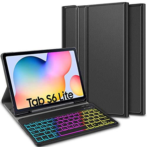 ELTD Tastatur Hülle für Samsung Galaxy Tab S6 Lite (Deutsches QWERTZ),Hülle mit 7 Farben LED-Hintergr&beleuchtung Kabellose Tastatur für Samsung Galaxy Tab S6 Lite 10,4 Zoll (Coal)