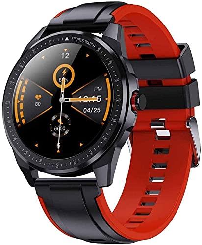 YLB - Reloj inteligente de 3,3 cm Full Touch Full Circle Recordatorio de llamadas, podómetro, pulsera IP68, resistente al agua, con Bluetooth, color negro y rojo