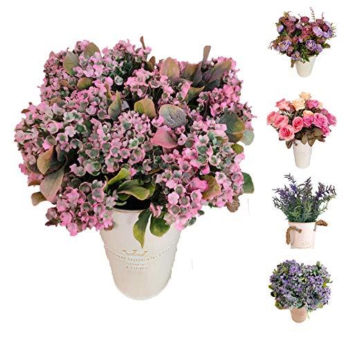 Flores/Plantas Artificiales Decoración Jarrones para Boda Eventos, Paniculata Gypsophila para Decorar Hogar Hotel Tienda Oficina Jardin Masetas (Rosado, Paniculata Pack 4)