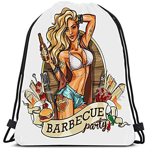 Mochila con cordón Mochilas Party Girl In Bikini Botella de cerveza Etiqueta Cinta Pin Up Bolsas de hombro portátiles Bolsa de deporte de viaje Bolsa de deporte