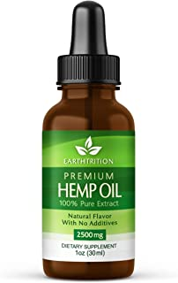 Premium Hemp Oil by Earthtrition - 2500mg Maximum Strength - 100% Organic Pure Extract, Naturally Reduces Inflammation and Anxiety, Improves Sleep Habits, Helps Stress, Reduces Joint Pain