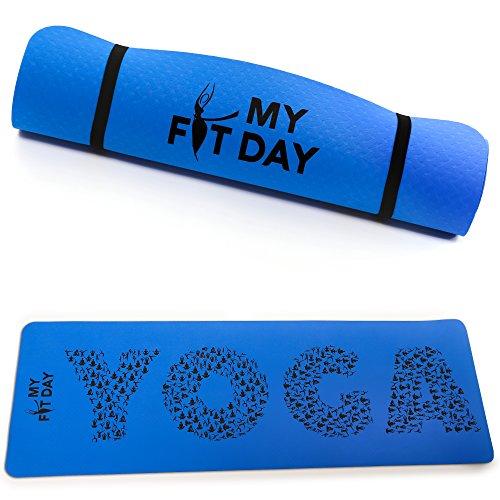 My Fit Day Tapis de Yoga Premium Fait en TPE   Taille XL 183x61x0,5cm   Non Toxique   Ultra-résistant   Léger   Optimisé pour la Pratique du Yoga   Anti-dérapant   Sangle d'Attache et de Transport