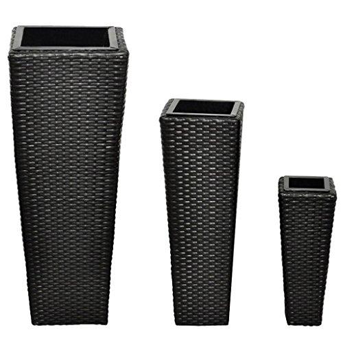 Festnight Vasi fioriere moderni da esterno in rattan nero, set da 3 vasi